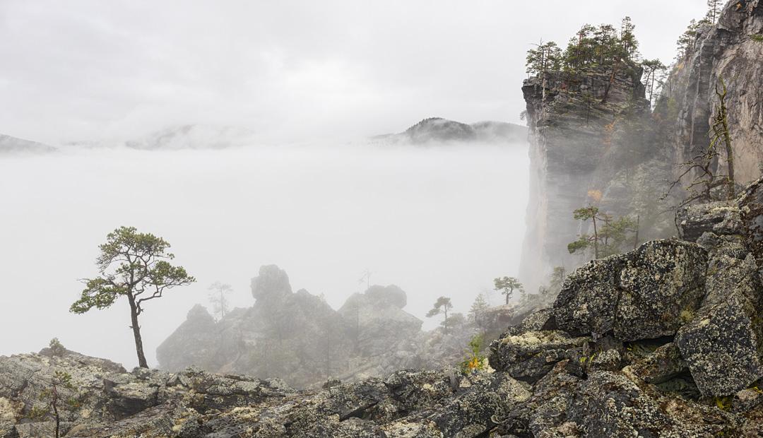 Rockslide in mist