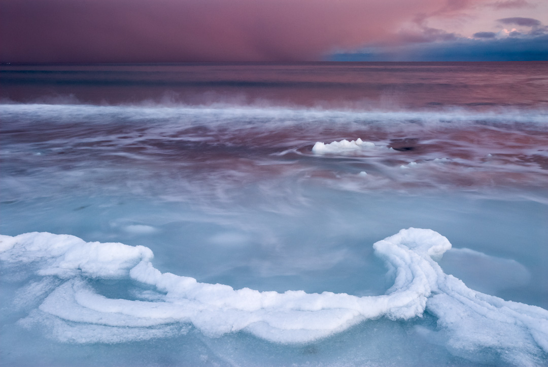 Ice, sea and snow sunset