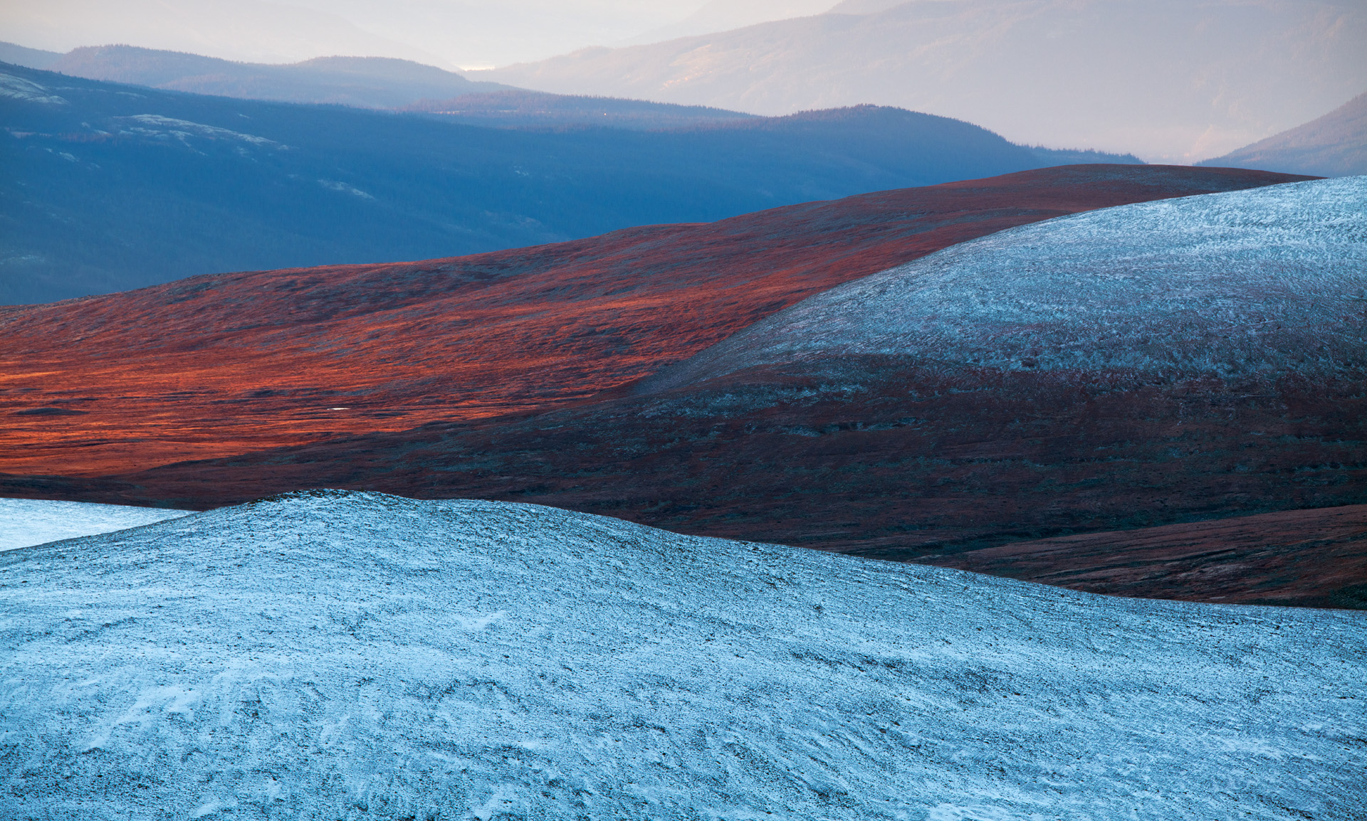Red and blue mountainscape